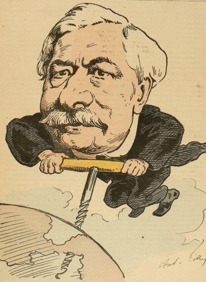 Caricatura de Ferdinand de Lesseps perforant l'istme de Panamà amb un llevataps, en al·lusió als errors constructius que va cometre