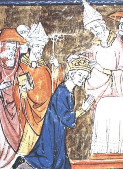 Miniatura de Lleó III coronant Carlemany