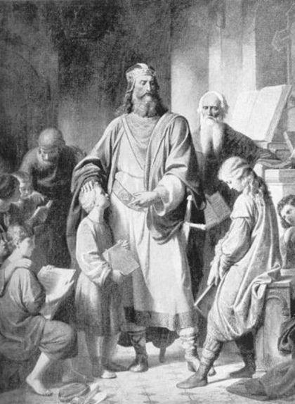 Carlemany amb els seus alumnes