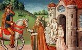 Carlemany amb el papa Adrià I a Roma per proporcionar-li la seva ajuda