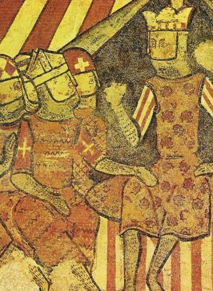 Berenguer de Palou a la dreta de Jaume I en una escena militar a les pintures murals de la conquesta de Mallorca