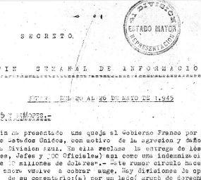Retall d'un dels  informes secrets de l'exèrcit espanyol als anys quaranta