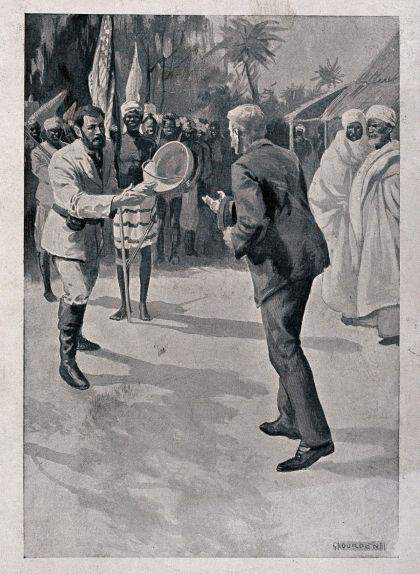 Il·lustració de la trobada entre el periodista i l'explorador amb la polèmica bandera dels Estats Units onejant