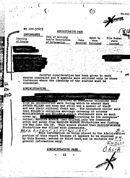 Document de l'FBI sobre la productora Marilyn Monroe Productions (MMP)