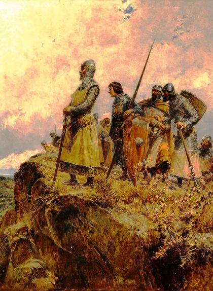 Pere el Gran al coll de Panissars en època de la croada contra la corona catalanoaragonesa, en una obra de Mariano Barbasán