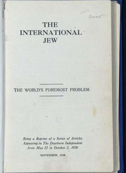 1920 International Jew reprint from Dearborn Independent