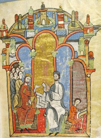 Una de les il·lustracions del 'Liber feudorum maior' que representa el rei Alfons I, també conegut com el Cast o el Trobador