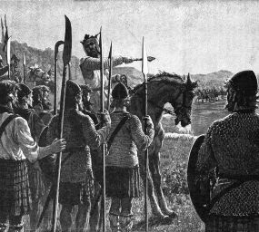 Representació de Robert de Bruce I donant les últimes indicacions a les seves tropes abans de la batalla de Bannockburn