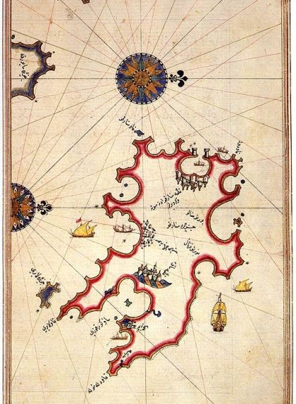 Mapa de Menorca al 'Llibre de les matèries marines', del mariner turc Piri Reis