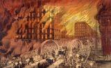 El pont de Randolph Street durant l'incendi de Chicago de 1871, obra de Currier i Ives