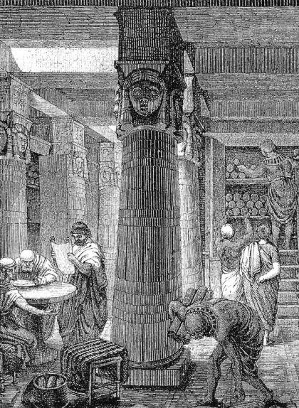 Representació de la biblioteca d'Alexandria