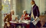 Representació de Benjamin Franklin, John Adams i Thomas Jefferson (d'esquerra a dreta) durant la redacció de la Declaració d'Independència dels Estats Units