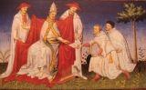 El pare i el tiet de Marco Polo donat una carta de Khublai  Khan al papa Gregori X (pintura del segle XV)