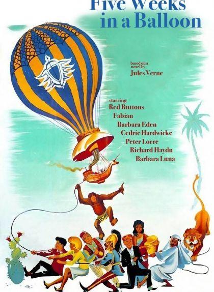 Cartell de l'adaptació cinematogràfica d'Irwin Allen de 'Cinc setmanes en globus'