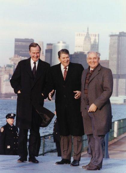 Reunió de Gorbatxov amb Ronald Reagan i George Bush a Nova York el 1988