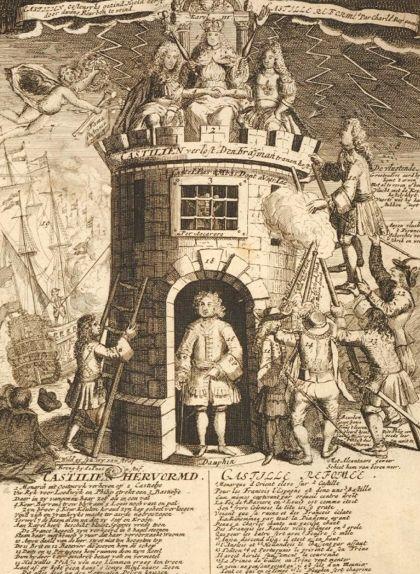 'Castilien Hervormd', un gravat holandès anònim que mostra Carles III entronitzat sobre un castell al qual Felip intenta enfilar-se de forma infructuosa