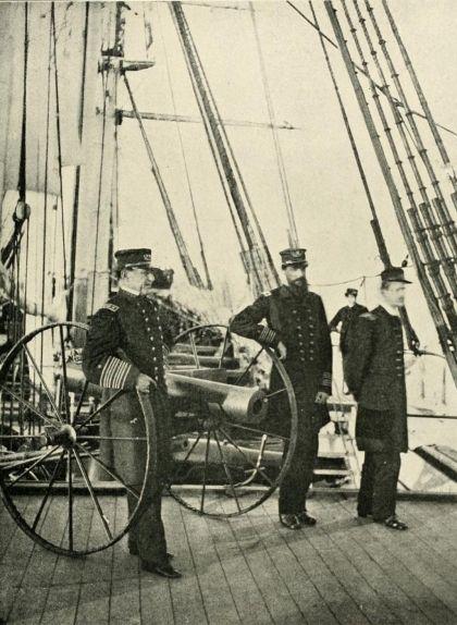 David Glasgow Farragut (a l'esquerra), a bord de l''USS Hartford'