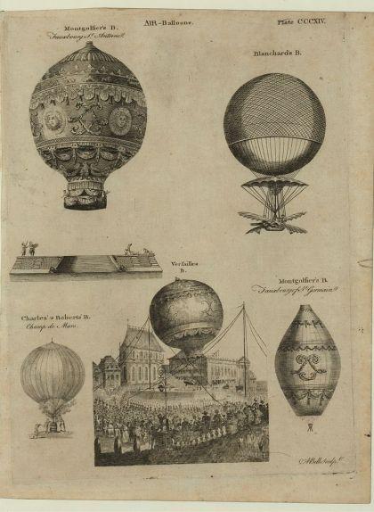 Il·lustració dels primers enlairaments de globus aerostàtics a França al segle XVIII