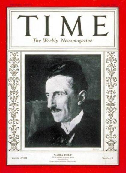 Nikola Tesla a la portada de la revista 'Time' el 1931