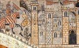 Pintura mural al castell d'Alcanyís que representa l'entrada de Jaume I a València el 1238