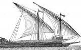Representació d'una galera catalana navegant