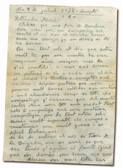 La primera carta de Joan Adserias, que data del 9 de juliol de 1938