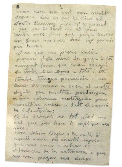 La segona pàgina de la primera carta de Joan Adserias, del 9 de juliol de 1938