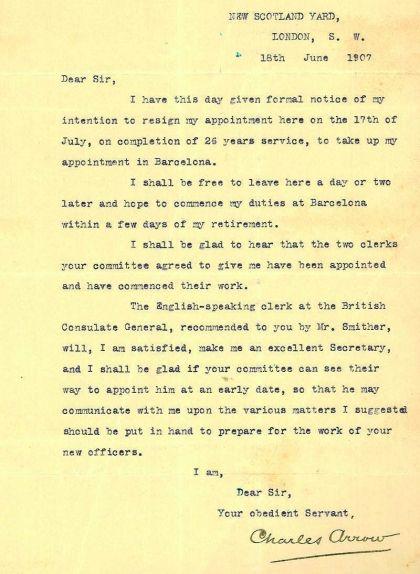 Carta de Charles Arrow dirigida a Enric Prat de la Riba en què accepta les condicions de la feina a Barcelona