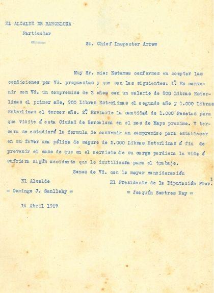 Carta de l'alcalde Domènec Joan Sanllehy acceptant les condicions de Charles Arrow