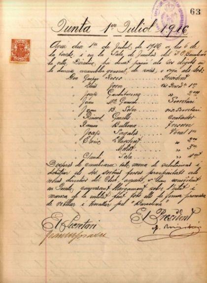 L'acta de l'1 de juliol del 1916 és el primer document administratiu del Barça escrit en català