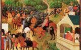 Imatge de la 'Cançó de Rotllan' que apareix a les 'Grans Cròniques de França' (segle XV)