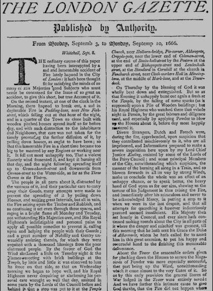 Pàgina del 'London Gazette' del 3 de setembre de 1666 informant sobre el gran incendi