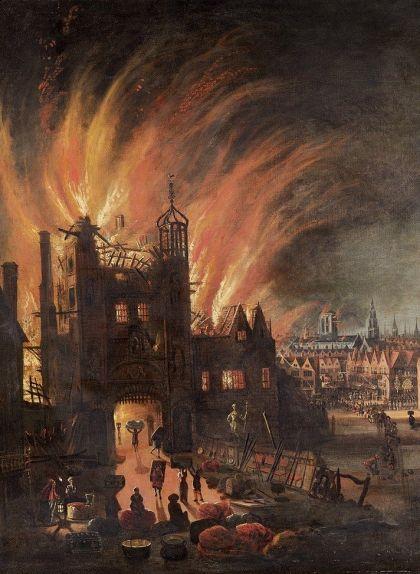 Quadre del gran incendi de Londres, concretament a Ludgate Hill, del 1670
