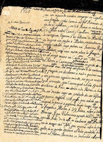 Fragment de les 'Narraciones Históricas' en què Francesc de Castellví, en una nota al marge, explica la mort de Carrasclet