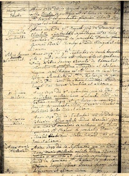 El llibre d'òbits de la catedral de Breisach el Vell informa de la mort i l'enterrament de Carrasclet
