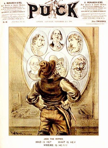 Portada de la revista 'Puck' del 21 de setembre de 1889, en què s'especula sobre la identitat de Jack l'Esbudellador