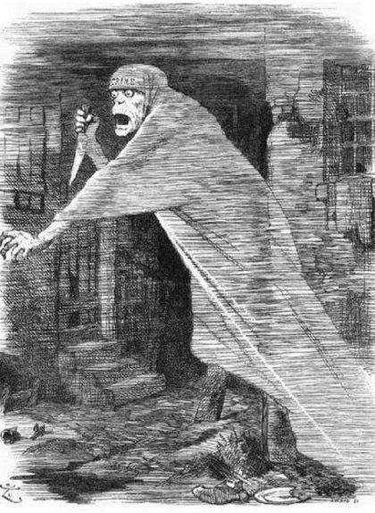 Caricatura de la revista 'Puck' publicada el 1888 en què es mostra Jack l'Esbudellador com un fantasma amb un ganivet