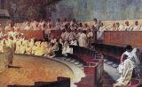 Representació d'una reunió del Senat romà en què Ciceró ataca Catilina, obra de Cesare Maccari