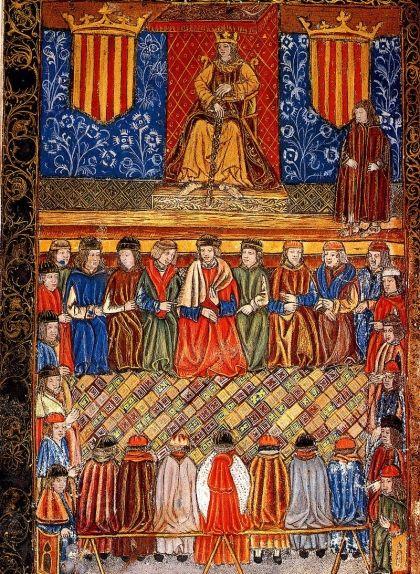 Il·lustració de finals de segle XV que representa Ferran II presidint les Corts