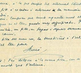 Part de la carta que va escriure Lluís Companys a la seva filla abans de ser afusellat