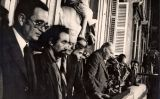 D'esquerra a dreta, Joan Reventós, Antoni Gutiérrez, Gregorio López Raimundo, Anton Cañellas, el president Tarradellas, Jordi Pujol i Rossend Audet al balcó del Palau de la Generalitat
