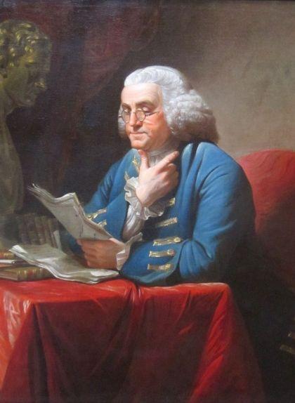 'Benjamin Franklin amb bust d'Isaac Newton', pintura de David Martin
