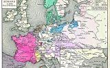 Mapa de les fronteres d'Europa el 1648 després de la pau de Westfàlia