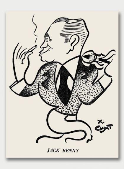 L'actor i violinista Jack Benny en un dibuix de Xavier Cugat