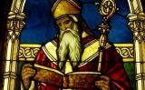 Detall de sant Agustí en una vidriera situada al Lightner Museum de St. Augustine, Florida