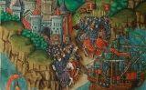 Il·lustració 'L'emperador Neró envia Vespasià amb un exèrcit per destruir els jueus' inclosa al manuscrit medieval 'Peniarth 482D'