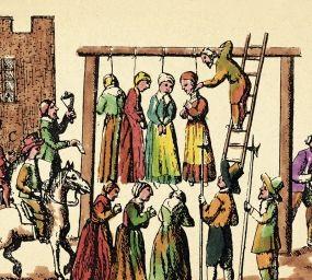 Gravat inclòs a 'Law and Custom of Scotland in Matters Criminal' (1678) que mostra l'execució pública de quatre bruixes i en què es veu, a la dreta, com el caçador de bruixes rep la seva recompensa