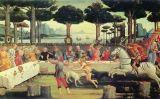 Pintura que il·lustra els esdeveniments de la vuitena història del cinquè dia del 'Decameró'