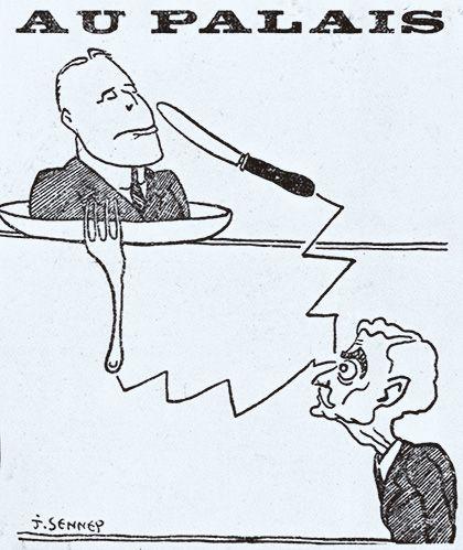 Acudit sobre el judici a Francesc Macià del caricaturista francès Jean Sennep
