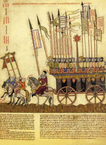 Pàgina del 'Breviculum' (1322), còdex que escenifica la vida del beat, on Llull comanda un exèrcit contra la falsedat i l'engany